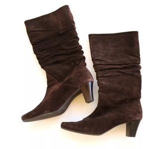 Talbots Brown Leather Slouch Boots Size 5B